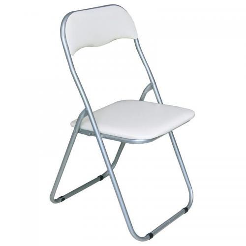 LINDA Καρέκλα Πτυσσόμενη Βαφή Γκρι - Pvc Άσπρο