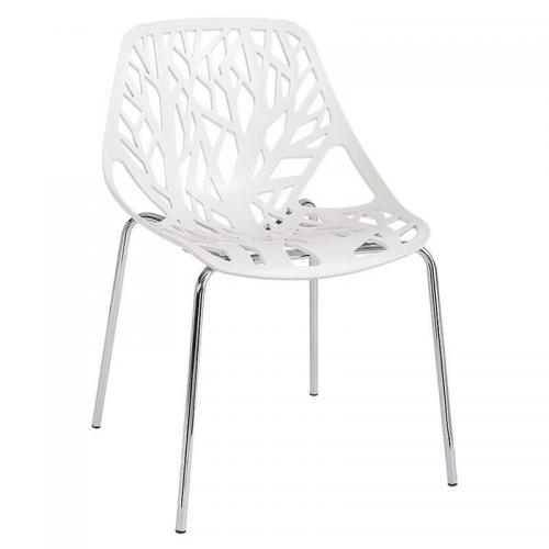 LINEA Καρέκλα Tραπεζαρίας Κουζίνας Μέταλλο Χρώμιο / Πολυπροπυλένιο Άσπρο