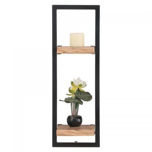 LIZARD Frame Ράφι Μέταλλο Βαφή Μαύρο - Ξύλο Ακακία Φυσικό