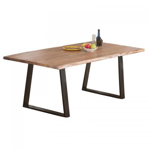 LIZARD Slim Τραπέζι Κουζίνας Τραπεζαρίας Μέταλλο Βαφή Μαύρο - Ξύλο Ακακία Φυσικό