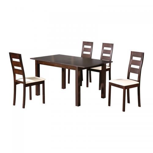 MILLER Set Τραπεζαρία Κουζίνας Ξύλινη Επεκτεινόμενο Τραπέζι + 4 Καρέκλες Σκ.Καρυδί-PVC Εκρού