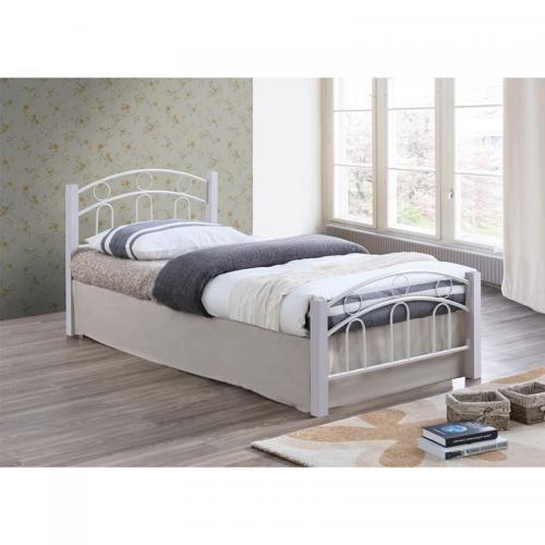 NORTON Κρεβάτι Διπλό Μέταλλο Βαφή Άσπρο / Ξύλο Άσπρο