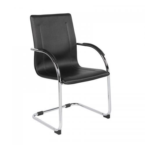 OMIKRON Πολυθρόνα Γραφείου Επισκέπτη Μέταλλο Χρώμιο PVC Μαύρο