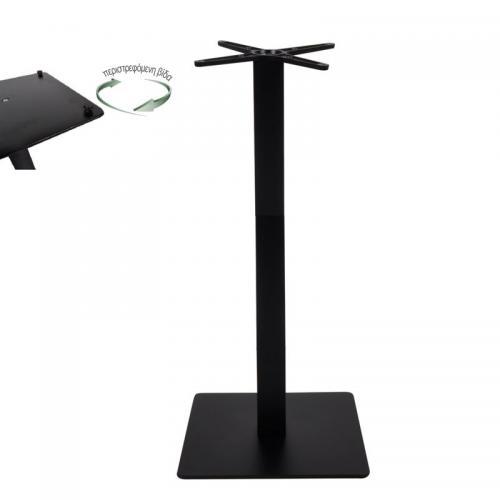 PRATO-R Βάση Τραπεζιού BAR με ρεγουλατόρο 50x50cm H.109cm Μέταλλο Βαφή Μαύρο / 18,50kg