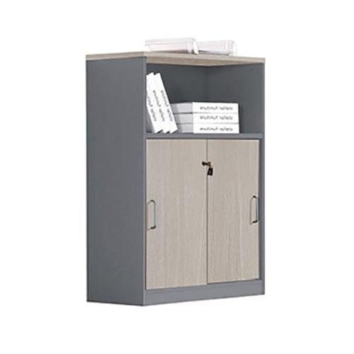 PROGRESS Ντουλάπι Γραφείου με Ράφι, Δίφυλλο Συρόμενες Πόρτες με 2 Ράφια, Απόχρωση Elm-Grey