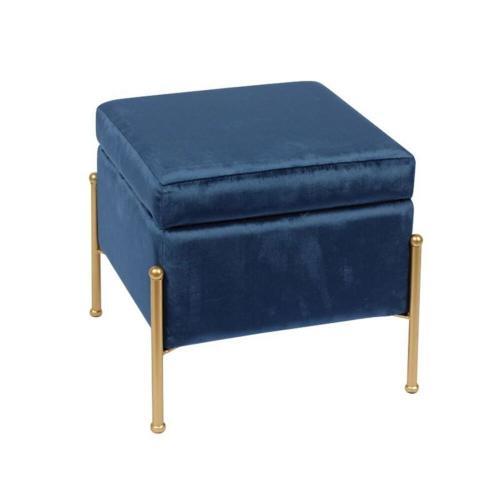 RAY Αποθηκευτικό Σκαμπώ Μέταλλο Βαφή Χρυσό / Ύφασμα Μπλε Velure