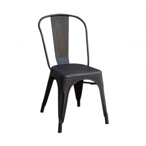 RELIX Καρέκλα - Μέταλλο Βαφή Antique Black Στοιβαζόμενη