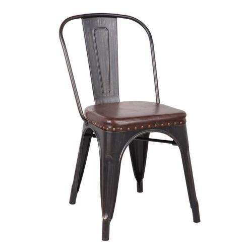 RELIX καρέκλα Steel Antique Black/Pu Κάθισμα Σκούρο Καφέ