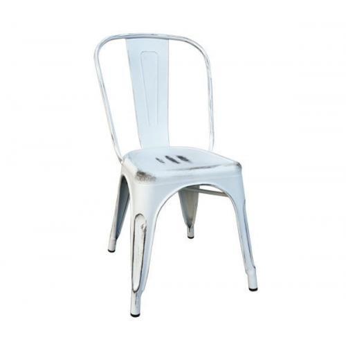 RELIX Καρέκλα - Μέταλλο Βαφή Antique White - Στοιβαζόμενη