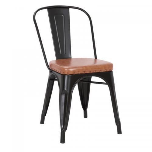 RELIX Καρέκλα - Μέταλλο Βαφή Μαύρο Matte - Pu Camel