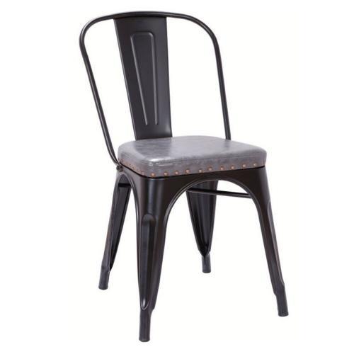 RELIX Καρέκλα - Μέταλλο Βαφή Μαύρο Matte - Pu Σκούρο Γκρι