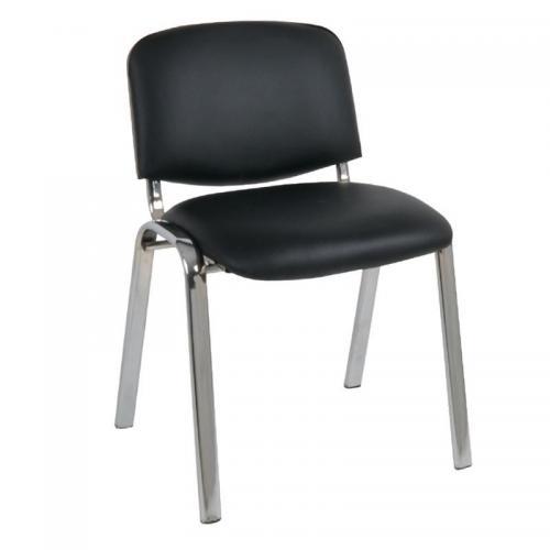 SIGMA Καρέκλα Γραφείου Επισκέπτη, Μέταλλο Χρώμιο PVC Μαύρο