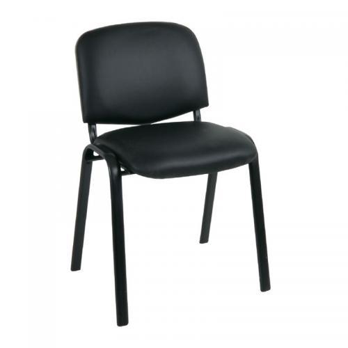 SIGMA Καρέκλα Γραφείου Επισκέπτη, Μέταλλο Βαφή Μαύρο, PVC Μαύρο