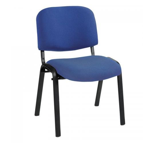 SIGMA Καρέκλα Στοιβαζόμενη Γραφείου - Επισκέπτη Μέταλλο Βαφή Μαύρο - Ύφασμα Μπλε
