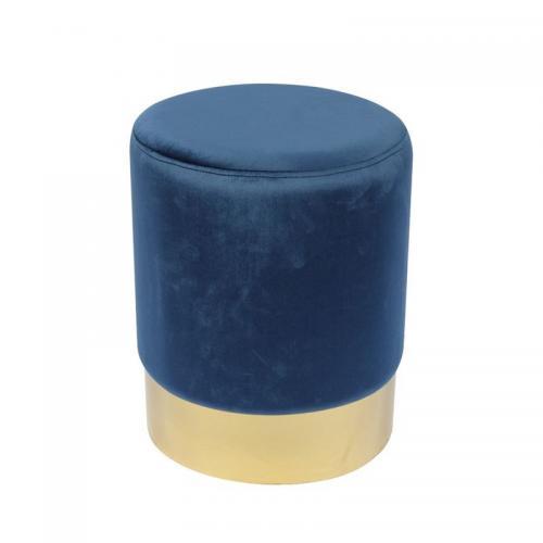 SOL Σκαμπώ Βοηθητικό Χρώμιο Χρυσό - Ύφασμα Μπλε Velure