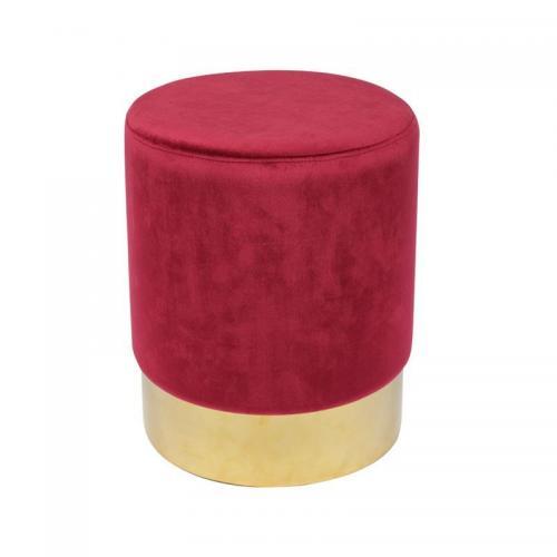 SOL Σκαμπώ  Βοηθητικό Χρώμιο Χρυσό - Ύφασμα Κόκκινο Velure