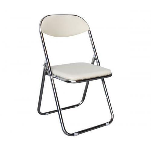 STAR καρέκλα πτυσσόμενη Χρώμιο/Pu Εκρού
