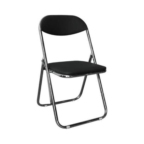 STAR καρέκλα πτυσσόμενη Χρώμιο/Pu Μαύρο