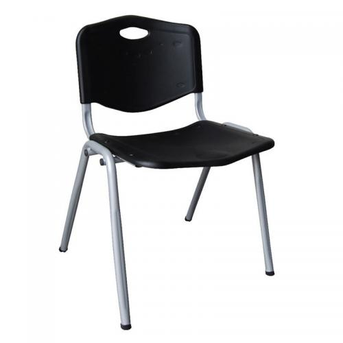 STUDY Καρέκλα Στοιβαζόμενη Μέταλλο Βαφή Silver / PP Μαύρο