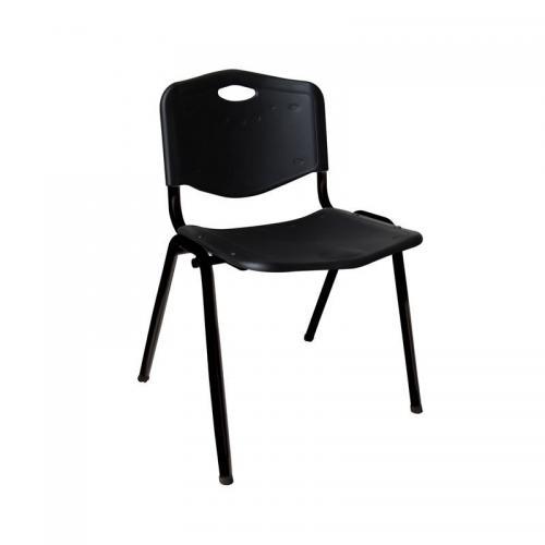 STUDY Καρέκλα Στοιβαζόμενη Μέταλλο Βαφή Μαύρο / PP Μαύρο