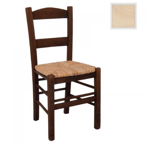 ΣΥΡΟΣ Καρέκλα Άβαφη με Ψάθα Αβίδωτη