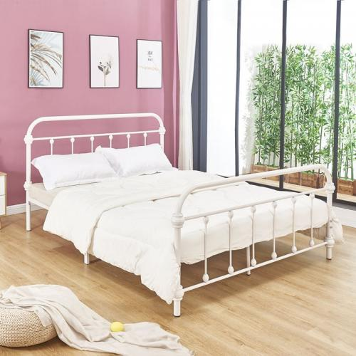 TUNER Κρεβάτι Διπλό Μέταλλο Βαφή Άσπρο