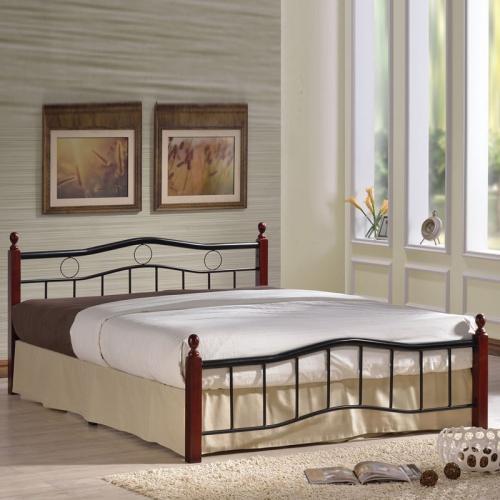 VICTOR Κρεβάτι Διπλό Μέταλλο Βαφή Μαύρο / Ξύλο Καρυδί