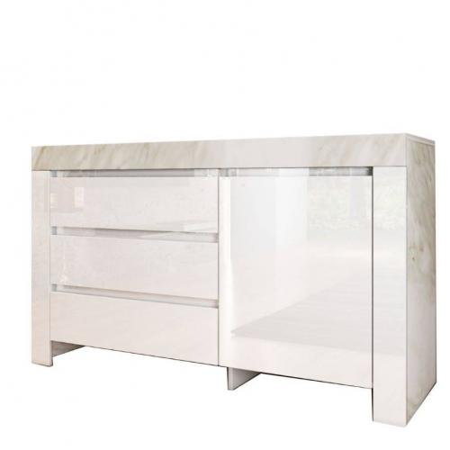 Buffet STANDART, colour White glossy with marble effect, 137x45x90. IR-STANDARTCOM