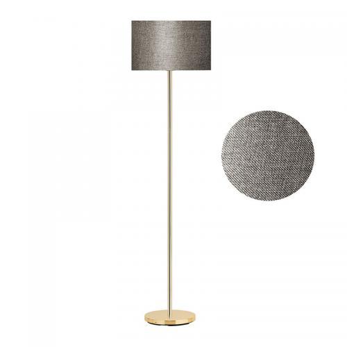 Μεταλλικό φωτιστικό δαπέδου PWL-0137 pakoworld χρυσό-pvc καπέλο σκούρο καφέ Φ30x150εκ