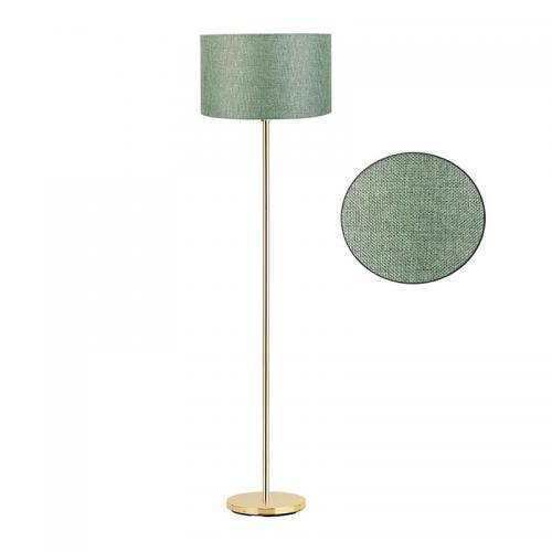 Μεταλλικό φωτιστικό δαπέδου PWL-0137 pakoworld χρυσό-pvc καπέλο πράσινο Φ30x150εκ