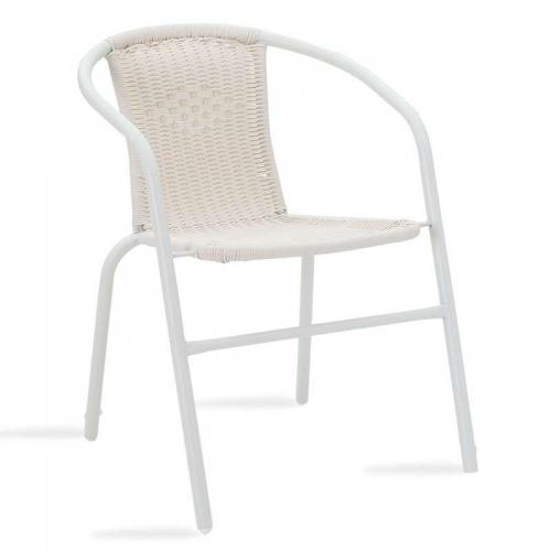 Πολυθρόνα κήπου Obbi pakoworld μέταλλο-pe λευκό