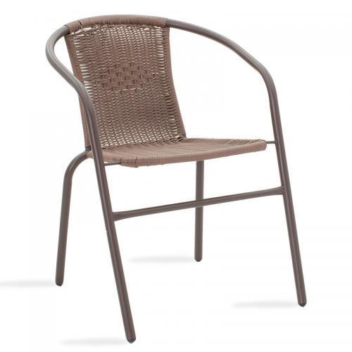Πολυθρόνα κήπου Obbi pakoworld μέταλλο-pe καφέ