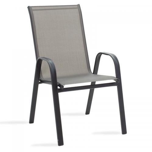 Πολυθρόνα κήπου Calan pakoworld μέταλλο μαύρο-textilene γκρι