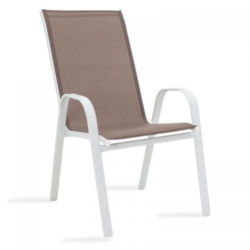 Πολυθρόνα κήπου Calan pakoworld μέταλλο λευκό-textilene καφέ