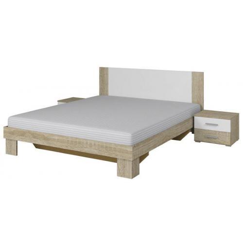 Κρεβάτι με 2 κομοδίνα Veron-160Χ200-Λευκό/Φυσικό